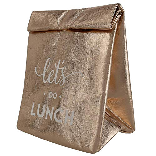 Santa Barbara Design Studio Let's Do Lunch Metallic Rose Gold Washable Insulated Paper Tote Bag, 12 Inch