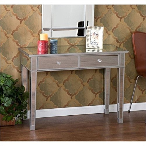 Mirrored Painted Console Table - Pemberly Row Mirrored 2 Drawer Console Table in Silver Wood Trim