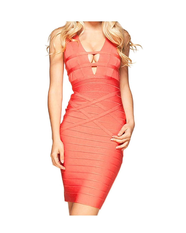 Whoinshop Frauen mit V-Ausschnitt Strapless Clubwear Bodycon Verband-Kleid