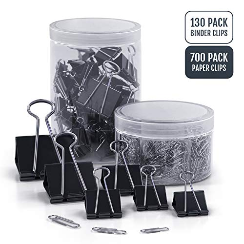 Paper Clips and Binder Clips - Assorted Set of 700 Paper Clips and 130 Binder Clips in Jumbo Large, Medium and Mini Small Sizes by K-Brands