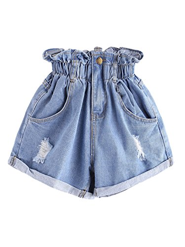 Milumia Women's Casual High Waisted Hemming Denim Jean Shorts with Pockets Small Blue ()