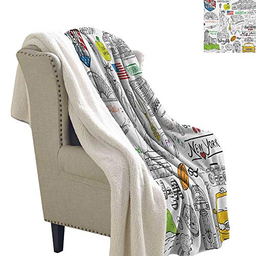 Josepsh American Lightweight Fluffy Flannel and Sherpa Blanket 60x78 Inch New York City Culture Metropolitan Museum Broadway Crossroad Wall Street Sketch Style Print Summer Quilt Comforter White
