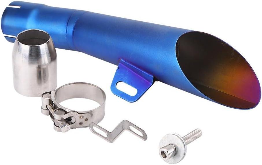 Akozon Tubo marmitta scarico Silenziatore motocross in acciaio inossidabile universale per moto Blu
