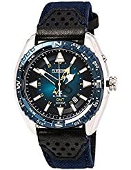 Seiko SUN059 Mens Prospex Kinetic GMT Stainless Nylon/Leather Band Blue Dial Watch