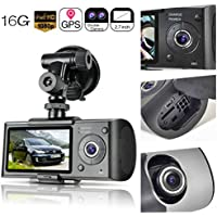 Dual Lens Dash Cam,2.7 Car DVR Vehicle Camera Video Recorder Car Camera with GPS Module G-Sensor(16G TF Card Included)
