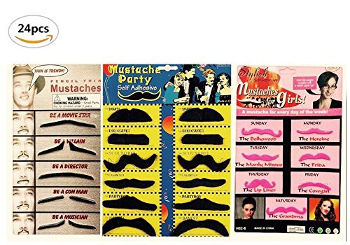 Joanna Reid Novelty Self Adhesive Fake Mustaches Moustaches Beards Costume Party Disguise for Masquerade Party & Performance, Set of - Beards Cool And Mustaches
