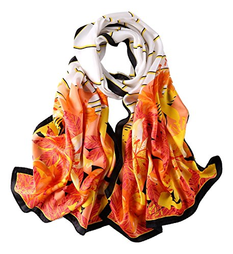Long Charmeuse Silk Scarf Floral and Graphic Print (Orange Leaves)