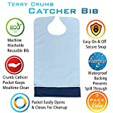 Crumb Catcher Adult Bib - Waterproof Absorbent Terry Cloth Adult Bibs Clothing Protector - Keeps Mealtime Clean (Light Blue, 3 Pack)