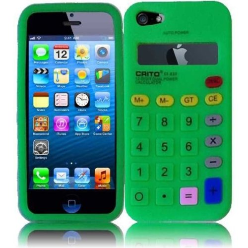 Qtech QT-1068 Unique Calculator Protective Case for iPhone 5 - 1 Pack - Retail Packaging - Neon Green (5 Case Iphone Calculator For)