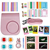 Neewer 10-in-1 Accessories Kit for Fujifilm Instax Mini 8/8s/9: Camera Case/Album/Selfie Lens/4 Colored Filters/5 Film Table Frames/20 Wall Hanging Frame/40 Border Stickers/2 Corner Stickers/Pen(Pink)