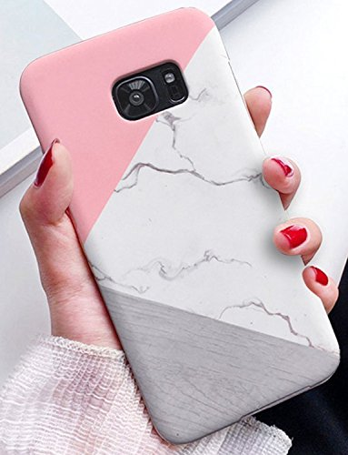 J.west Galaxy S7 Edge Case, Marble Design Pink Geometric Anti-Scratch &Fingerprint Shock Proof Thin Non Slip Matte Back Excellent Grip Slim Fit Shell Hard Protective Cover for Samsung Galaxy S7 edge