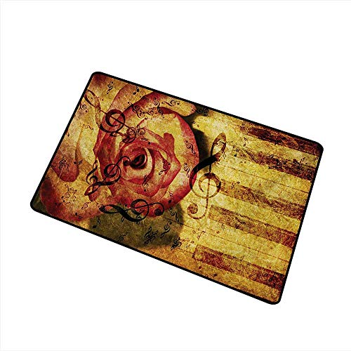Non-Slip Door mat Rose Vintage Background with Piano Keyboard and Majestic Rose Love Valentines Art Theme W35 xL59 with Anti-Slip Support