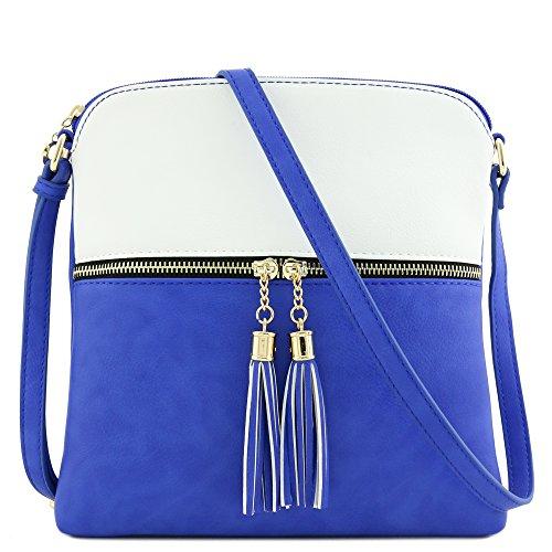 Pocket Tassel Blue Crossbody Zip Bag White Royal HwwvgqSx