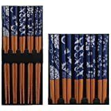 Happy Sales Five Pairs of Asian Blue and White Wooden Chopsticks
