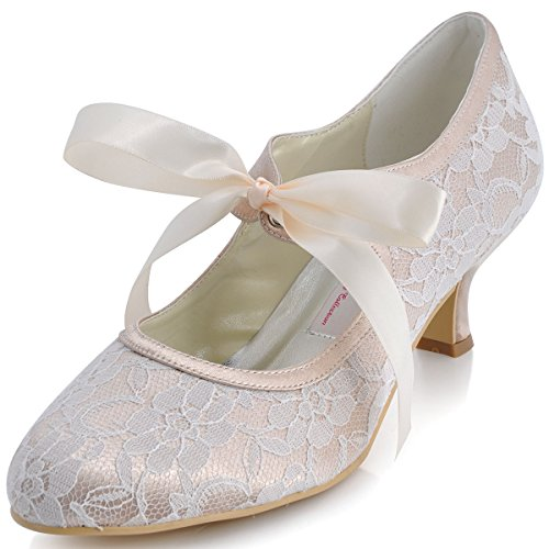 ElegantPark A3039-2 Women's Mary Jane Closed Toe Low Heel Pumps Lace Wedding Dress Shoes Champagne US 8 ()