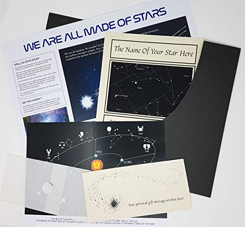 planetsforsale Name a Star Personalized Gift in a Presentation Folder - A  Swarovski Element Marks The Location Of Your Star - Any Name - Any