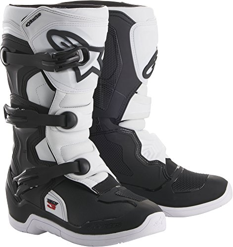 Alpinestars Tech 3S Youth Motocross Off-Road Motorcycle Boots, Black/White, Size 5 ()