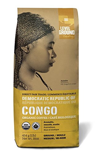 Congo Certified Organic Fair Trade Medium Roast Ground Coffee 1 lb 454 g
