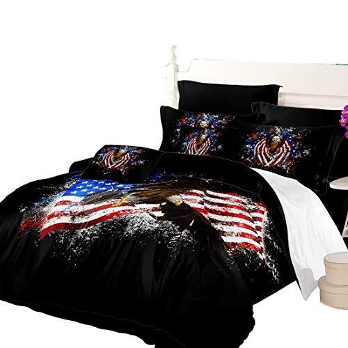 (Oliven 5 Pcs Amercian Flag Bedding King Flag with Bald Eagle Duvet Cover Set Flat Sheet Fitted Sheet Kids Bedding)