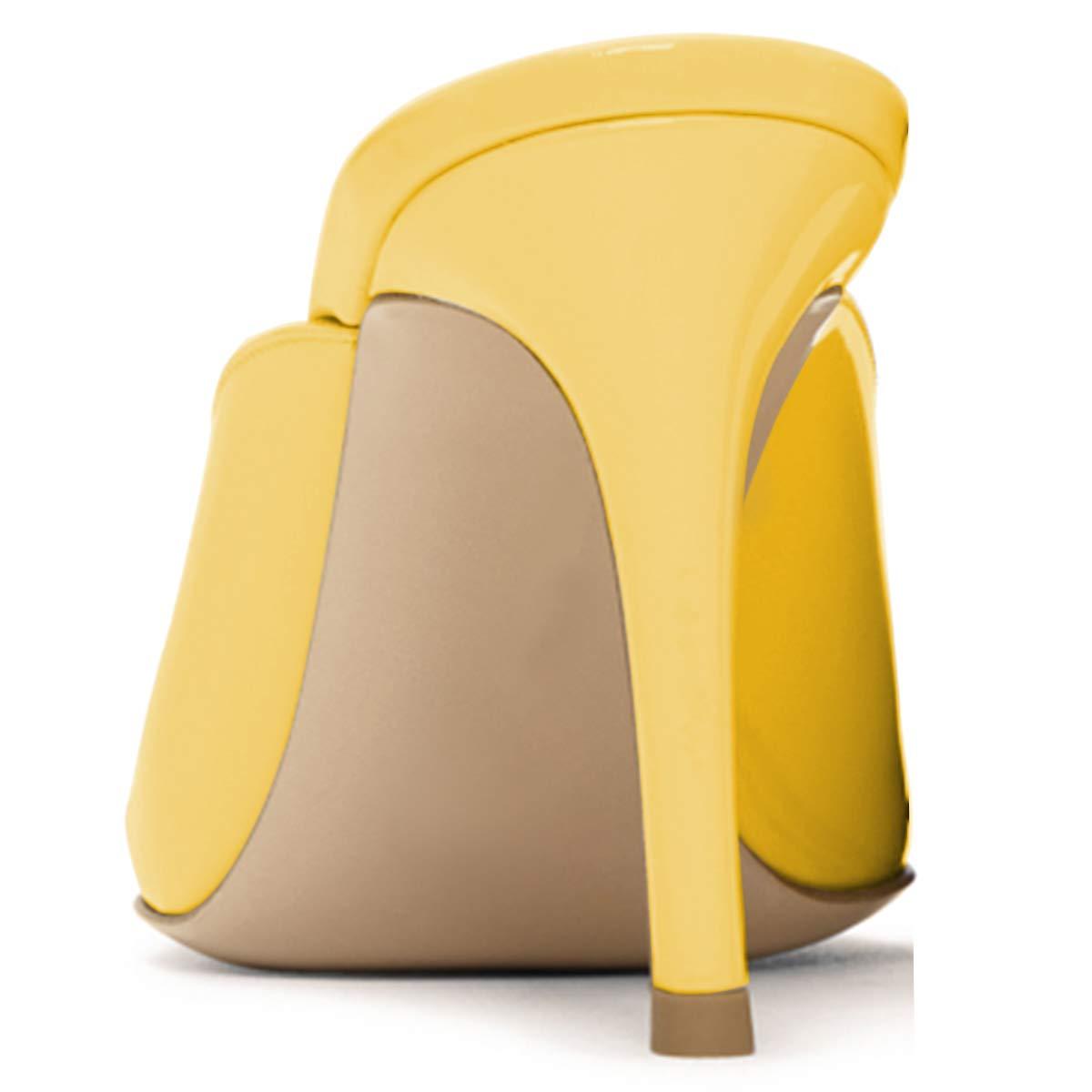 XYD Women High Heels Mules Pointed Toe Slip On Slide Sandals Patent Dress Slipper Shoes