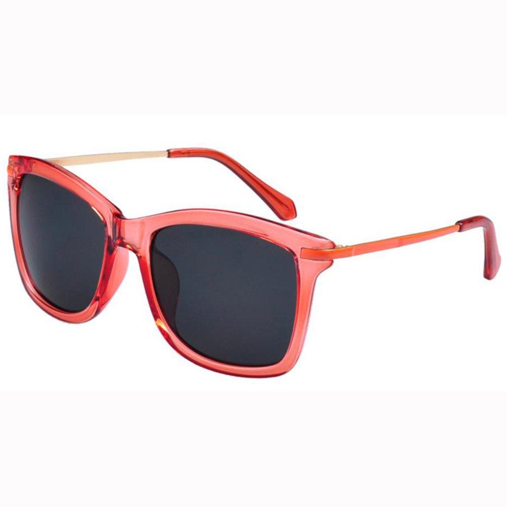 Qingsun Moda Gafas de Sol Fashion Sunglasses Montura de Metal Protección de Ojos para Mujer Rojo