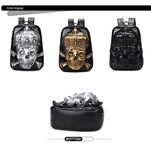 Lederrückpack, 3D Skull Personality Schoolbag, Popular Popular Popular Laptop Bag, It Can Be Used Party Gift, Suitable for Everyone (schwarz) B07P73VG3X Kinderruckscke Ausgezeichnete Leistung 8922e9