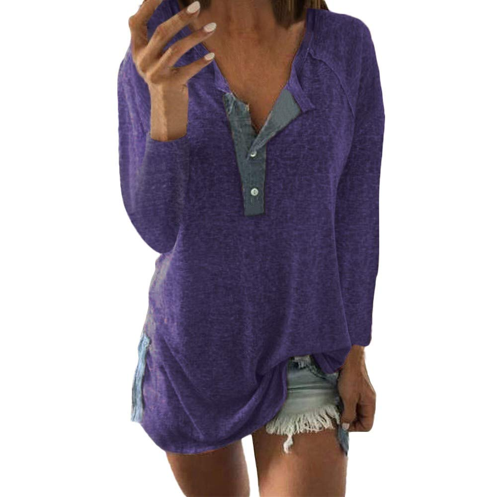 UONQD Women Casual Loose Patchwork Button Long Sleeve Blouse T Shirt Tops (X-Large,X-Purple)
