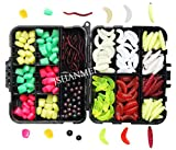JSHANMEI ® 220PCS/Box Carp Fishing Tackle Box Artificial Plastic Fake Baits Sweetcorn/Beads/Worm Lures