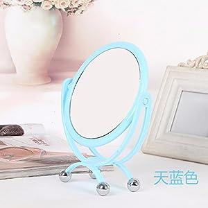 Beauty Mirror Makeup Mirror Magnification Vanity Cosmetic Mirrors Shaving Mirror Desktop Mirror European Double-Sided Dressing Mirror Portable Princess Mirror Hd Mirror,Blue,22.5×16.5Cm durable modeling