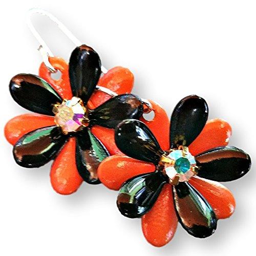 Halloween Flower Earrings Black and Orange with AB Rhinestones