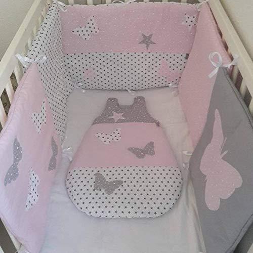 ensemble tour de lit et gigoteuse bébé,rose gris et blanc ...