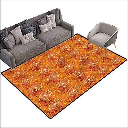 Kitchen Carpet Orange,Grunge Radial Pattern 80