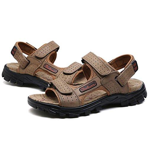 GAOLIXIA Sandalias respirables de cuero real de los hombres Zapatos ocasionales de los deportes de verano Zapatos de playa al aire libre Zapatos corrientes ligeros Zapatos de senderismo ( Color : Caqui , tamaño : 40 )