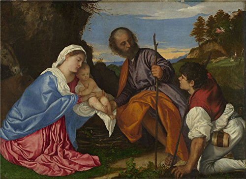 [Polyster Canvas ,the High Quality Art Decorative Canvas Prints Of Oil Painting 'Titian The Holy Family With A Shepherd ', 30 X 41 Inch / 76 X 105 Cm Is Best For Dining Room Decoration And Home Gallery Art And] (Early Explorer Costume Ideas)