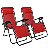 Flex HQ Zero Gravity Chairs Recliner Lounge Patio Chairs Set of 2 Red