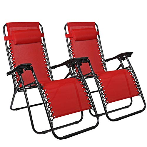 Chairs Lounge Mesh (Flex HQ Zero Gravity Chairs Recliner Lounge Patio Chairs Set of 2 Red)