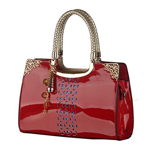 Wewod Mujeres Bolso de bandolera Moda PU Cuero bolsas de asa Bolsos de mensajero 29 x 20 x 9cm (L*H*W) Rojo