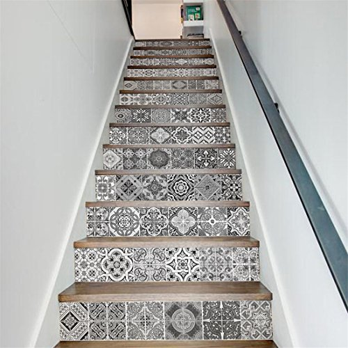 MISSSIXTY Peel and Stick Decorative Stair Stickers Black White 13 Pieces