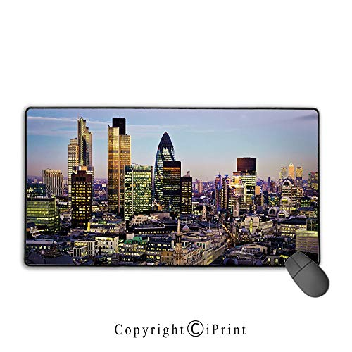 Gaming Mouse pad,City,Modern Architecture of Downtown London Center of Global Finance Famous Capital City,Multicolor, Suitable for Offices and Homes, Mouse pad with Lock,9.8