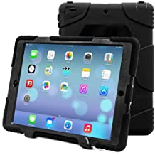 iPad Air 2 Case, iPad 6 Case, ACEGUARDER® [Shockproof] [Heavy Duty] [Military] Extreme Tough & Drop Resistance Soft Silicone Case with Kickstand for Apple iPad Air 2. (Whistle + Stylus Pen + Carabiner) (Black/Black)