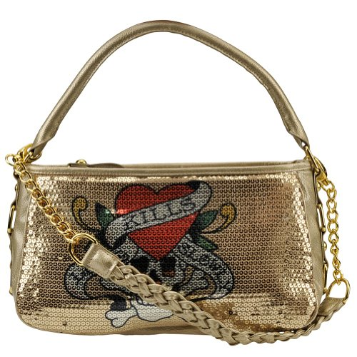 Jolly Roger Love Kills Slowly Agnes Hobo Bag - Gold