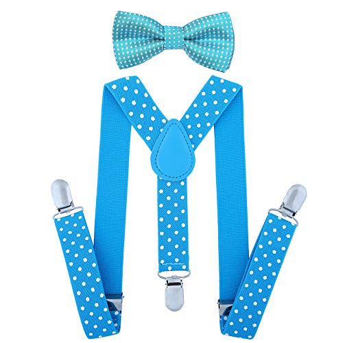 (Child Kids Suspenders Bowtie Set - Adjustable Suspender Set for Boys and Girls(25Inches (5 Months to 6 Years),Sky blue Polka)