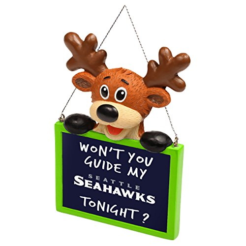 2015 NFL Football Team Logo Reindeer With Sign Holiday Tree Ornament - Pick Team (Seattle Seahawks) (Seahawks Decorations)