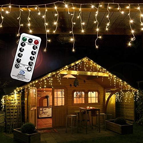 960 LED Lichterkette Eisregen warmweiß 24m Timer Programme Fernbedienung Dimmen außen