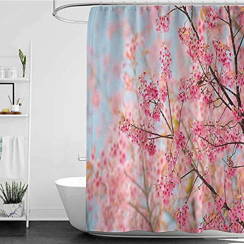 homecoco Shower Curtains Black and Gold Floral,Japanese Sakura Cherry Blossom Branches Full of Spring Beauty Picture,Light Pink Baby Blue W36 x L72,Shower Curtain for clawfoot tub