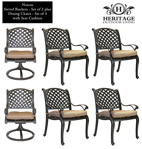 Heritage Outdoor Living Nassau Cast Aluminum Dining Chair/Swivel Rocke 6 - Pack - Antique Bronze
