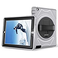 iPad 2/3/4 Shockproof Case, RUIKEHUA 360 Degree Rotating Rugged Shock Drop Proof Hybird Case Cover with Built-in Kickstand and Leather Hand Strap
