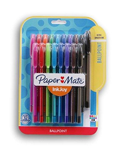Paper Mate Inkjoy 100ST Ballpoint Pen - 1mm - 18ct - Multicolor