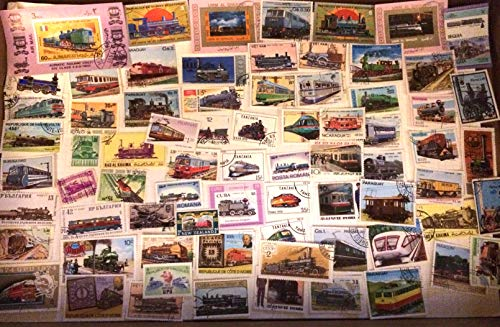 75 Trains stamps, stamp collection worldwide