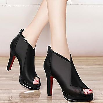 Jqdyl High Heels 2018 Neue Wilde Herbst Herbst Schuhe Sommer Mesh High-Heels Fein mit Fisch Mund Einzelne Schuhe Weibliche Schuhe Sandalen